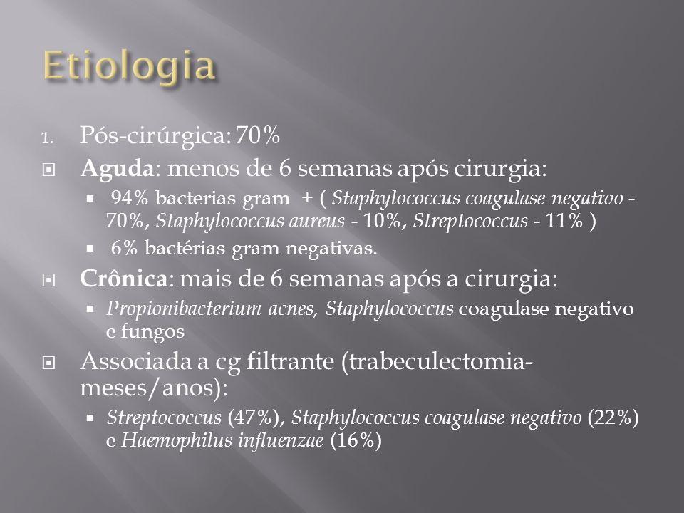 Etiologia Pós-cirúrgica: 70% Aguda: menos de 6 semanas após cirurgia: