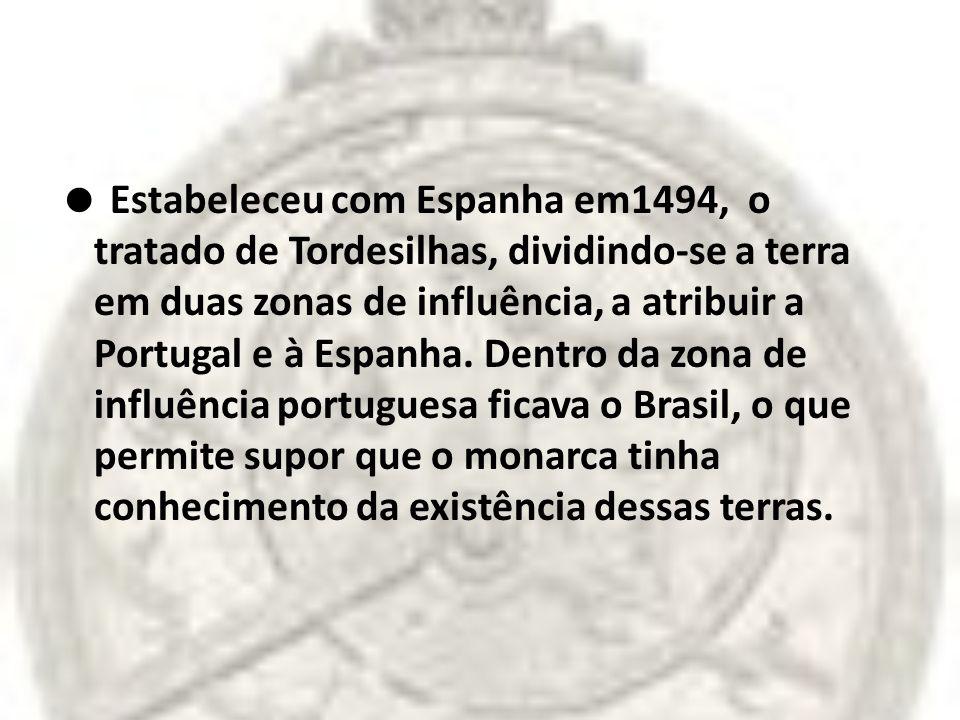  Estabeleceu com Espanha em1494, o tratado de Tordesilhas, dividindo-se a terra em duas zonas de influência, a atribuir a Portugal e à Espanha.