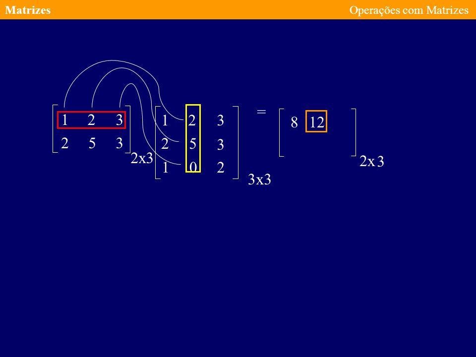 Matrizes Operações com Matrizes = 1 2 3 1 2 3 8 12 2 5 3 2 5 3 2 x 3 2 x 3 1 2 3 x 3