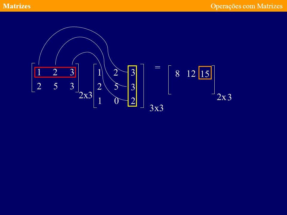 Matrizes Operações com Matrizes = 1 2 3 1 2 3 8 12 15 2 5 3 2 5 3 2 x 3 2 x 3 1 2 3 x 3