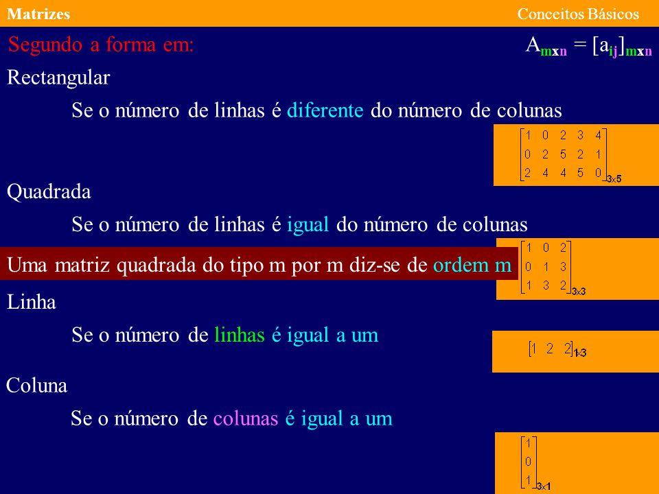 Se o número de linhas é diferente do número de colunas