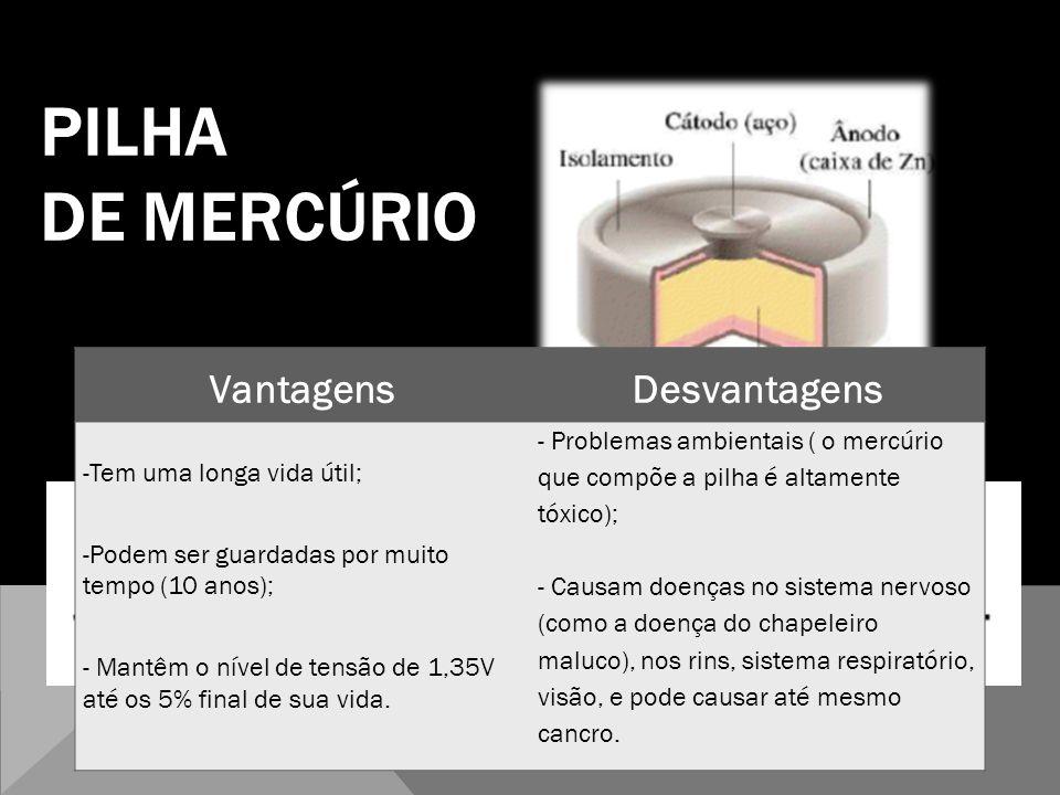 PILHA DE MERCÚRIO Vantagens Desvantagens