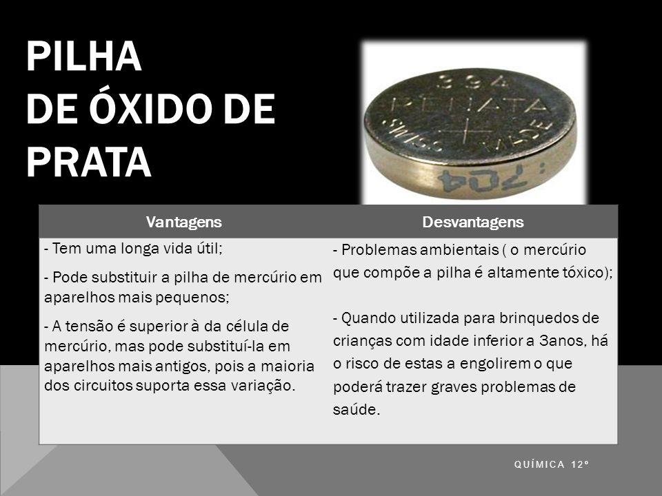 PILHA DE ÓXIDO DE PRATA 2 Ag+ + Zn  2 Ag + Zn+ Vantagens Desvantagens