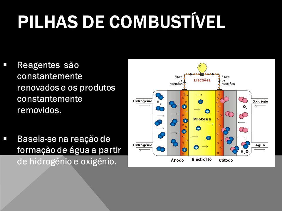 PILHAS DE COMBUSTÍVEL Reagentes são constantemente renovados e os produtos constantemente removidos.