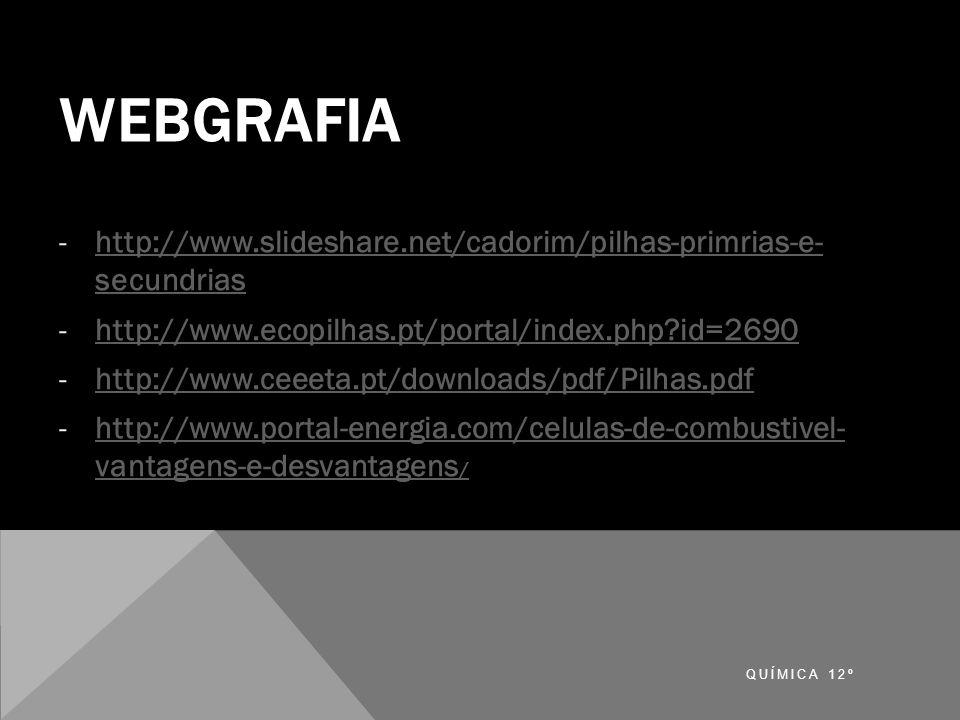 Webgrafia http://www.slideshare.net/cadorim/pilhas-primrias-e- secundrias. http://www.ecopilhas.pt/portal/index.php id=2690.