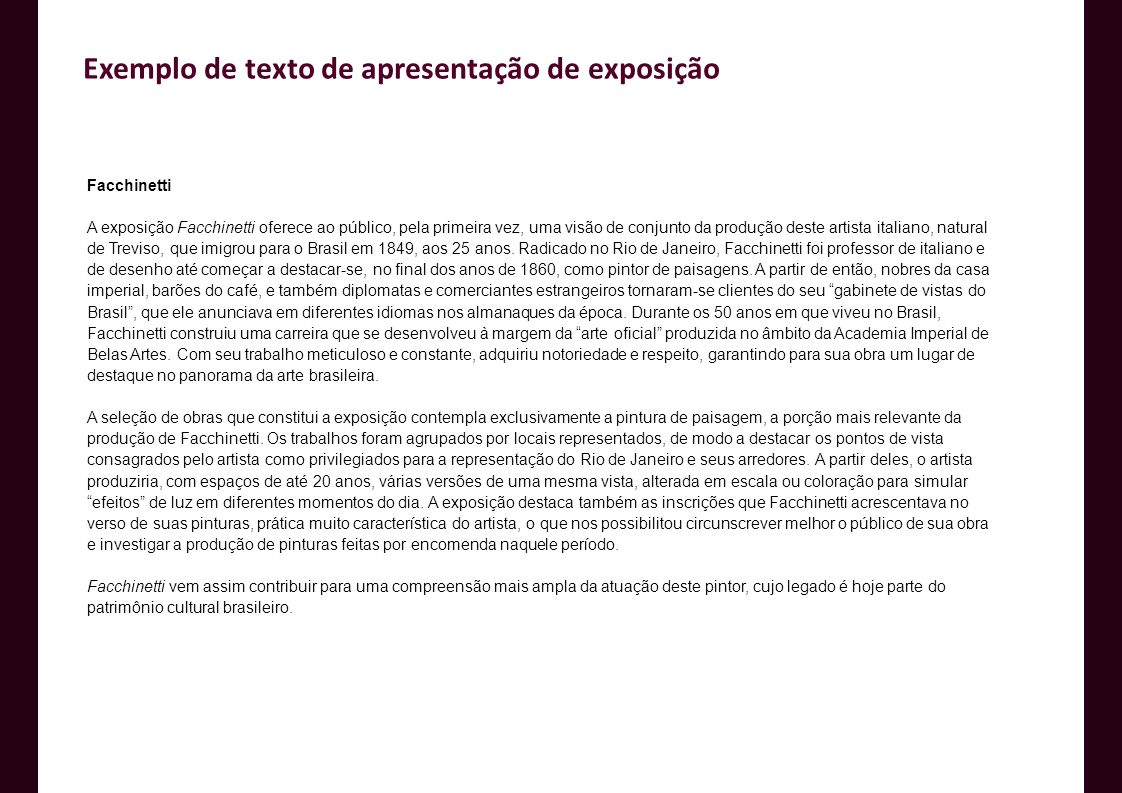 Exemplo de texto de apresentação de exposição