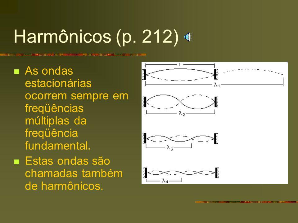 Harmônicos (p. 212) As ondas estacionárias ocorrem sempre em freqüências múltiplas da freqüência fundamental.
