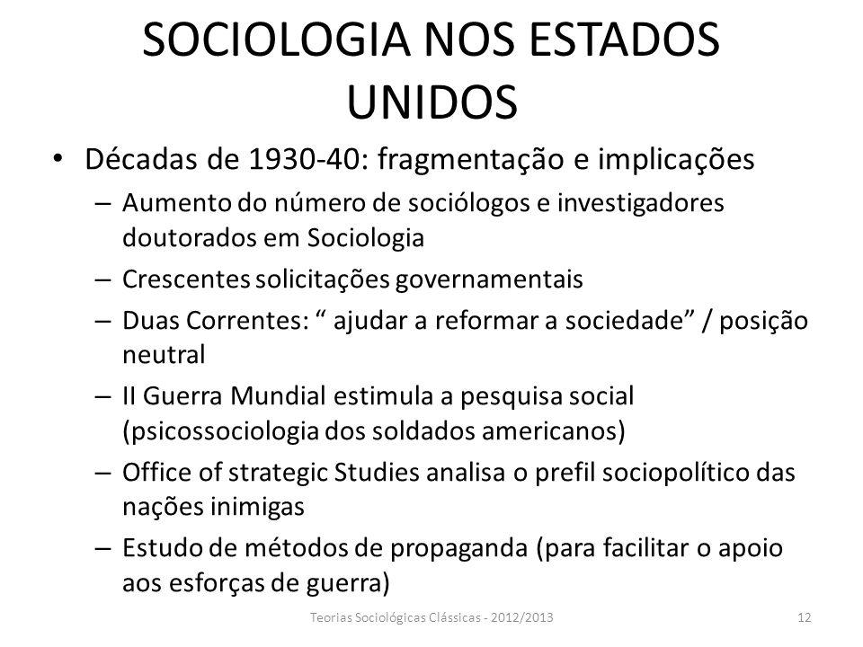 SOCIOLOGIA NOS ESTADOS UNIDOS
