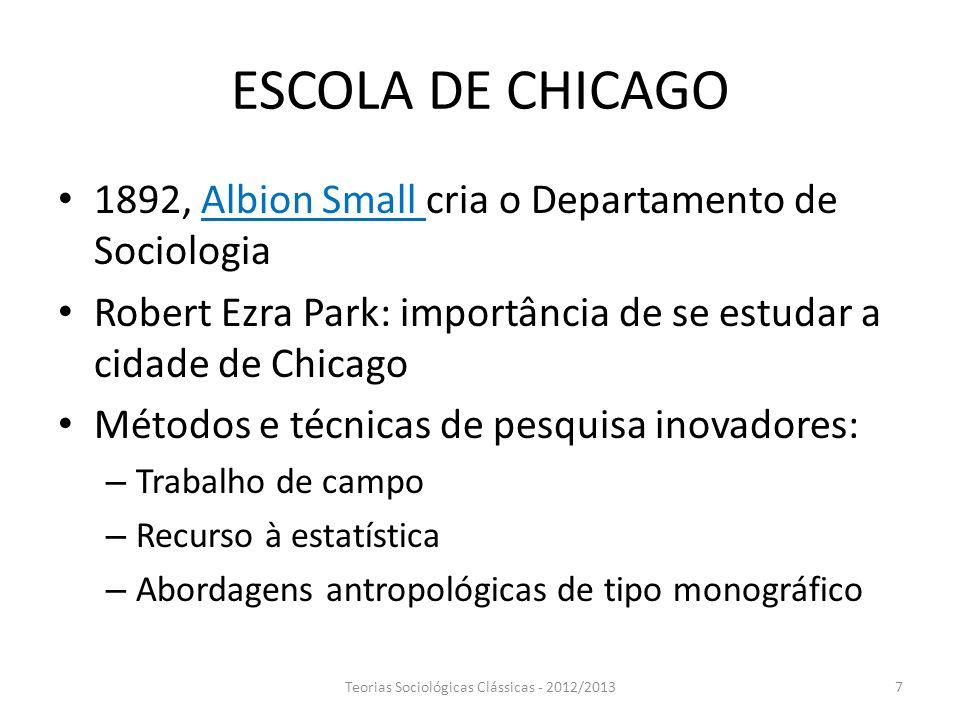 Teorias Sociológicas Clássicas - 2012/2013