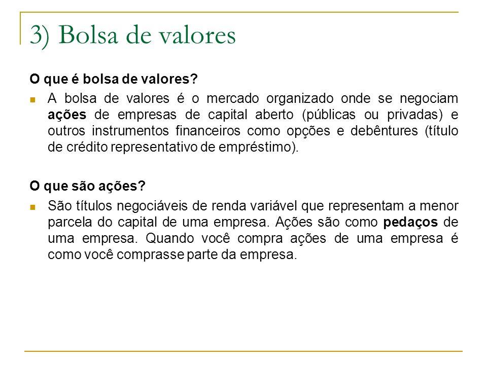 3) Bolsa de valores O que é bolsa de valores