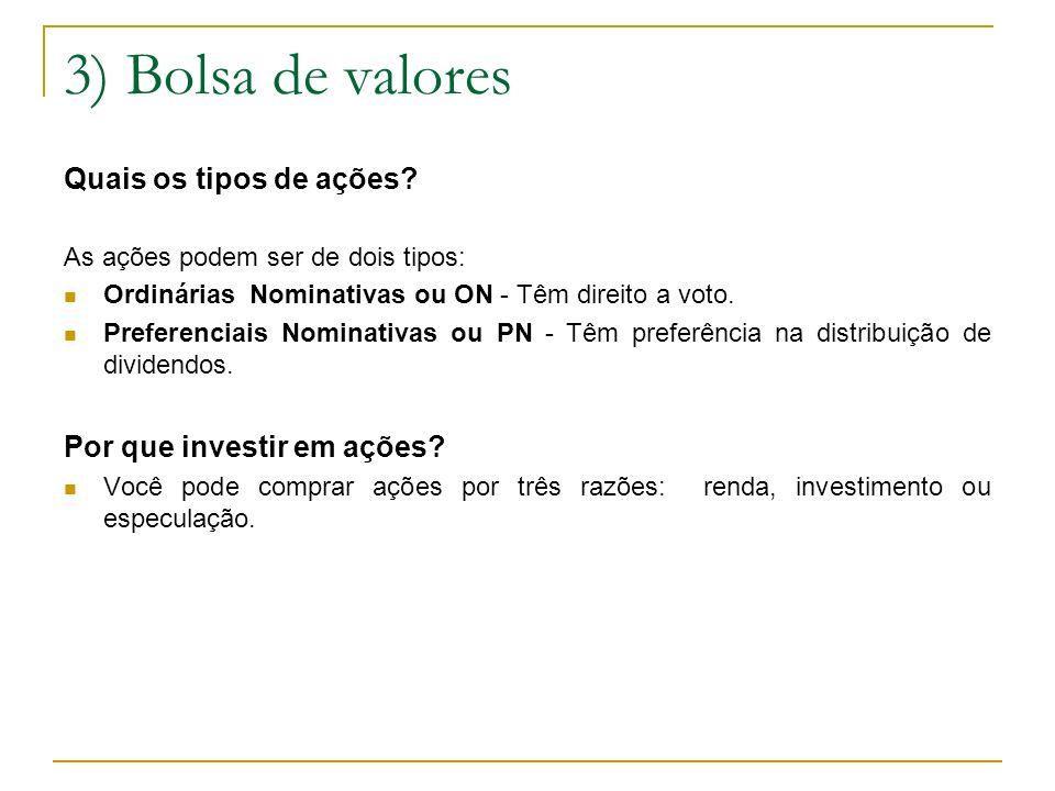3) Bolsa de valores Quais os tipos de ações