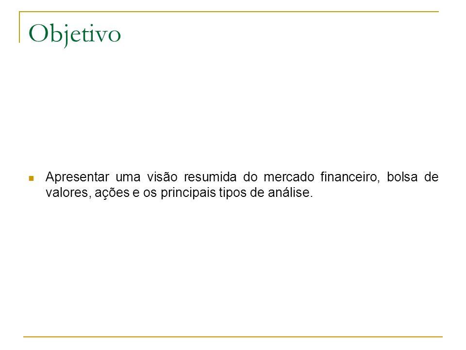 ObjetivoApresentar uma visão resumida do mercado financeiro, bolsa de valores, ações e os principais tipos de análise.