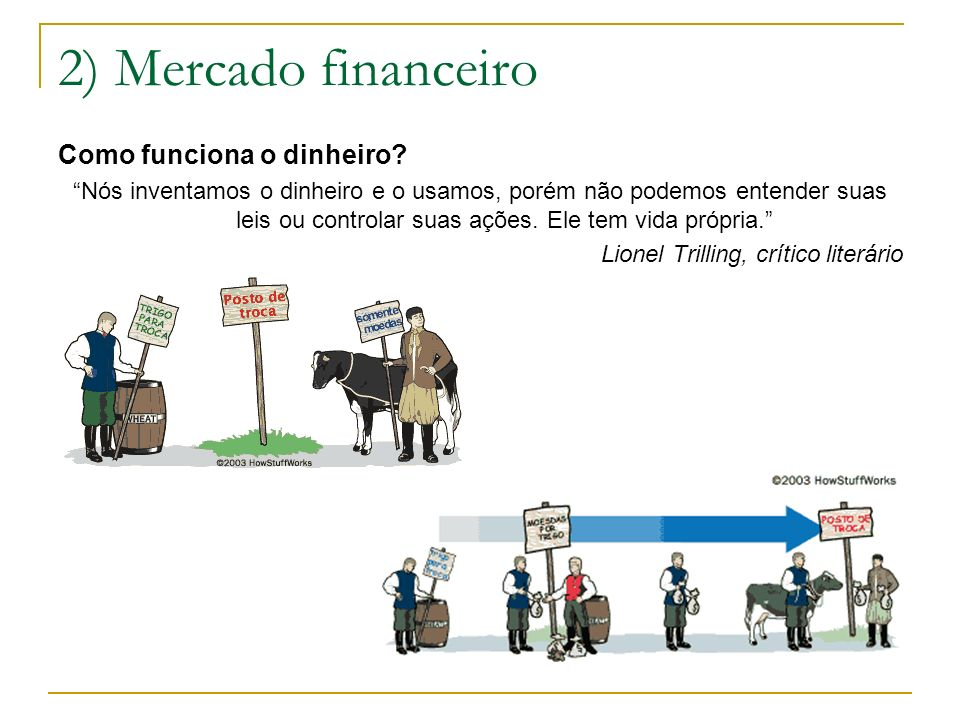 2) Mercado financeiro Como funciona o dinheiro