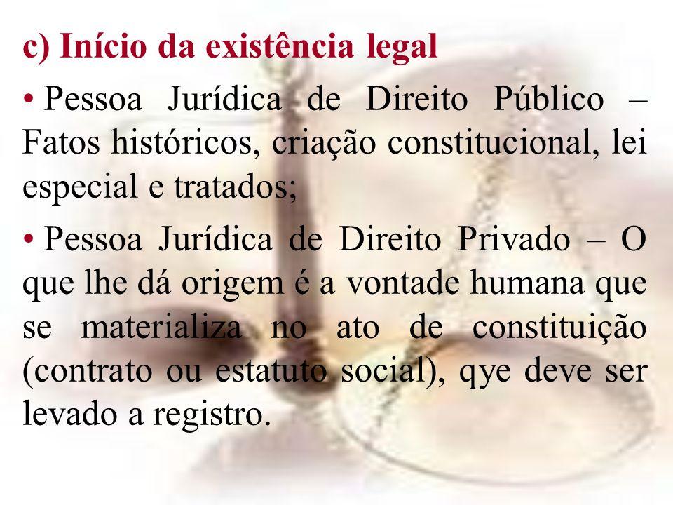c) Início da existência legal