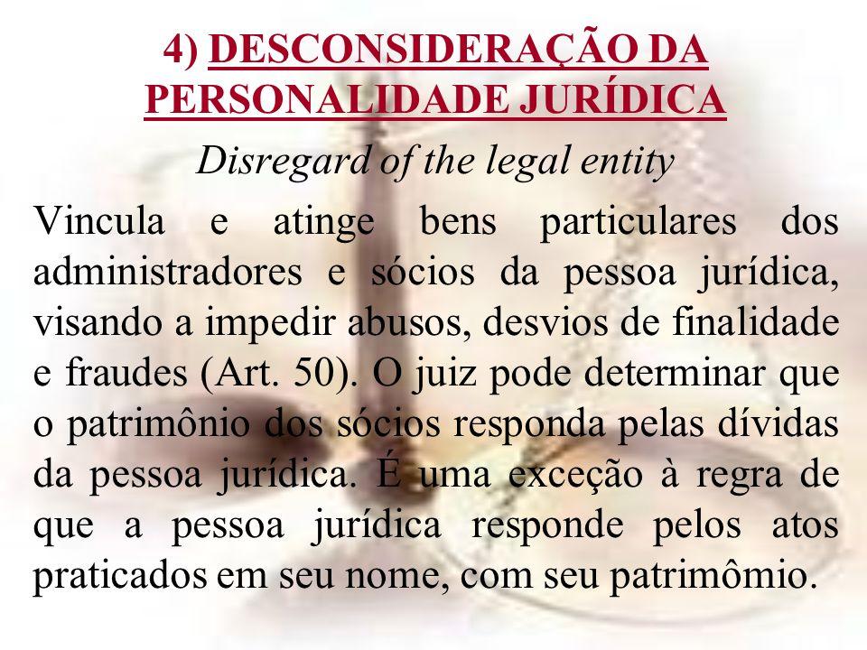 4) DESCONSIDERAÇÃO DA PERSONALIDADE JURÍDICA
