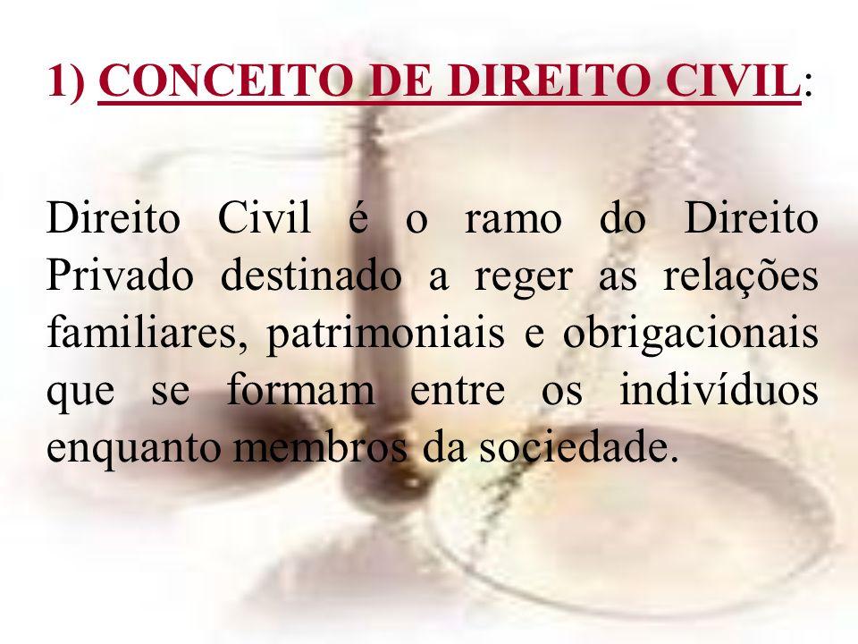 1) CONCEITO DE DIREITO CIVIL: