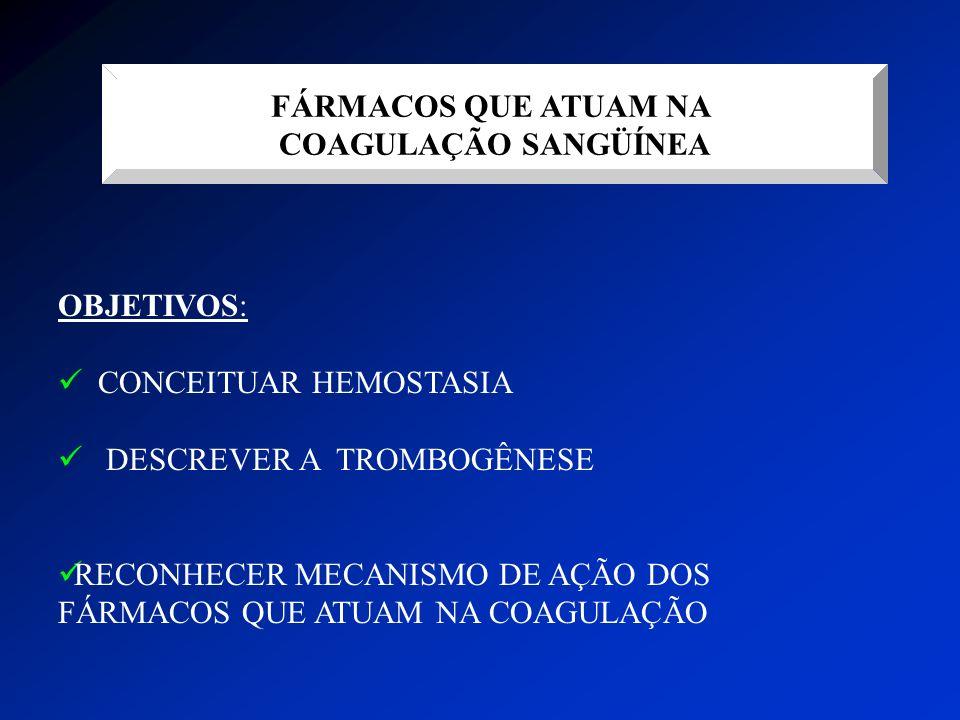 FÁRMACOS QUE ATUAM NA COAGULAÇÃO SANGÜÍNEA. OBJETIVOS: CONCEITUAR HEMOSTASIA. DESCREVER A TROMBOGÊNESE.