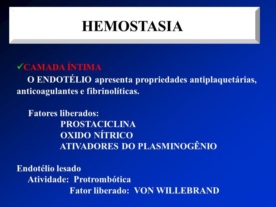 HEMOSTASIA CAMADA ÍNTIMA. O ENDOTÉLIO apresenta propriedades antiplaquetárias, anticoagulantes e fibrinolíticas.