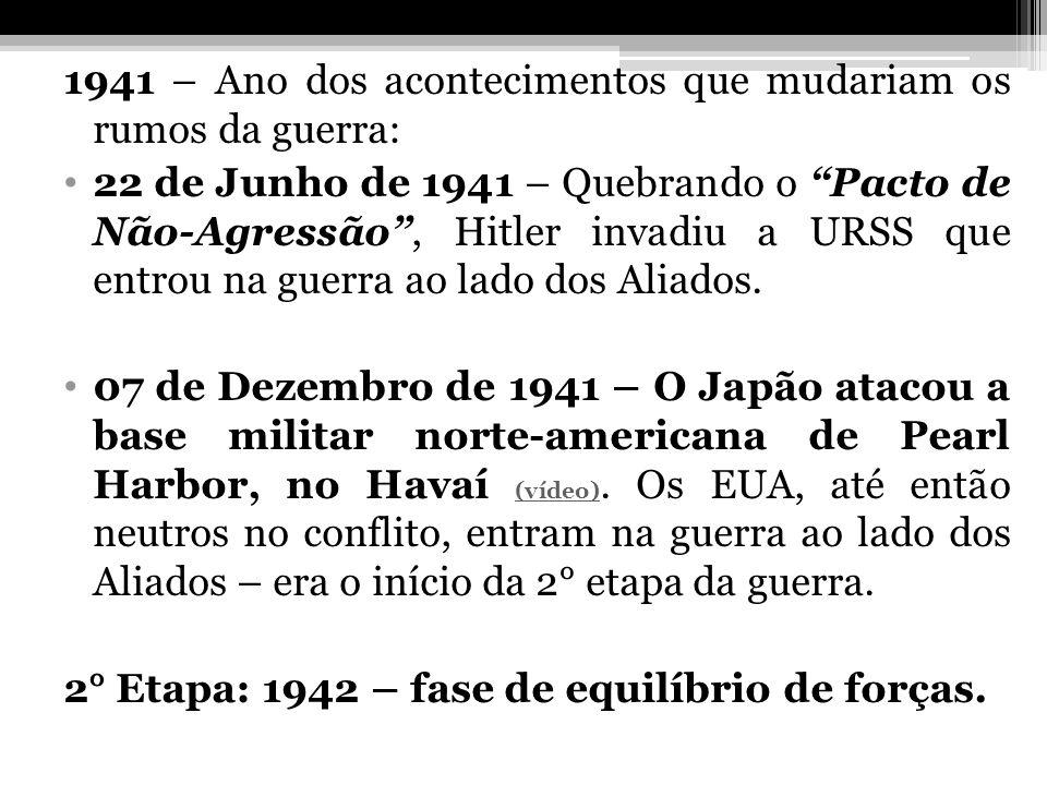 1941 – Ano dos acontecimentos que mudariam os rumos da guerra: