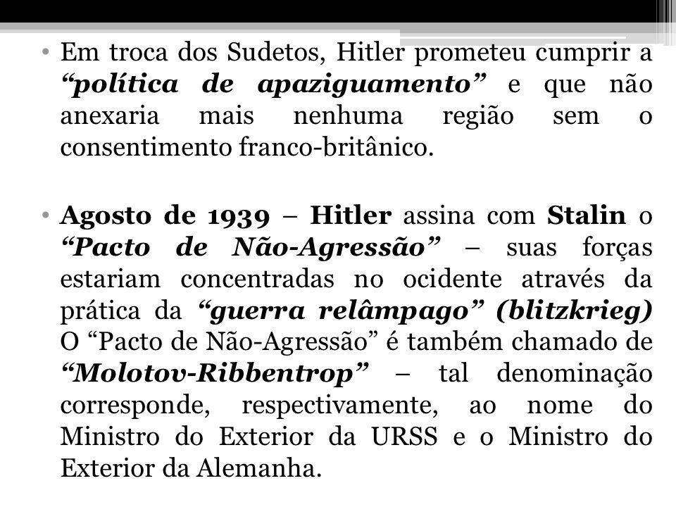 Em troca dos Sudetos, Hitler prometeu cumprir a política de apaziguamento e que não anexaria mais nenhuma região sem o consentimento franco-britânico.