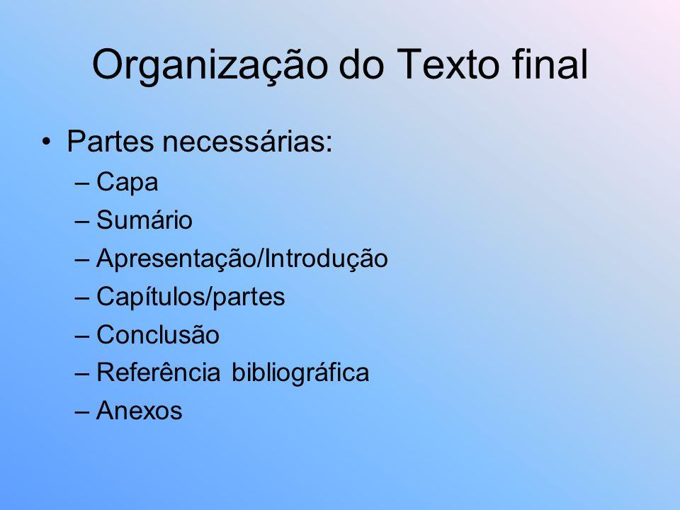 Organização do Texto final