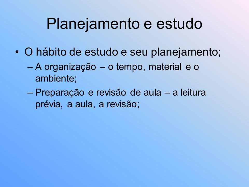 Planejamento e estudo O hábito de estudo e seu planejamento;