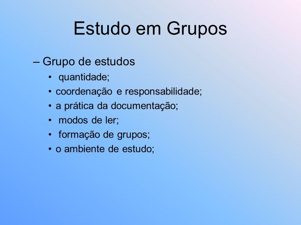 Estudo em Grupos Grupo de estudos quantidade;