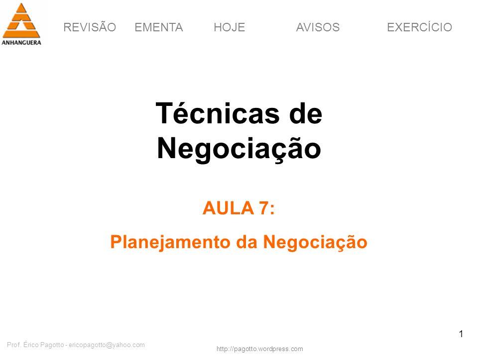 Técnicas de Negociação Planejamento da Negociação