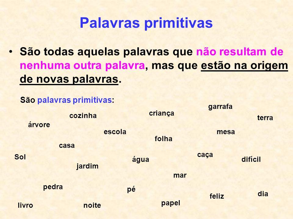 Palavras primitivas São todas aquelas palavras que não resultam de nenhuma outra palavra, mas que estão na origem de novas palavras.