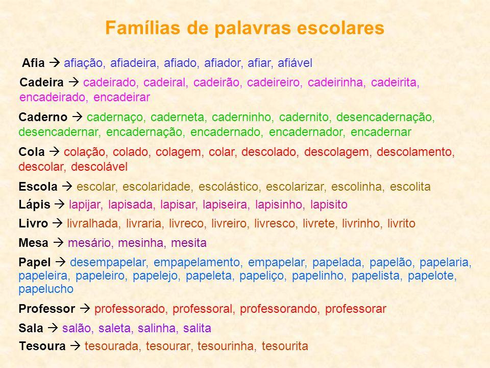 Famílias de palavras escolares