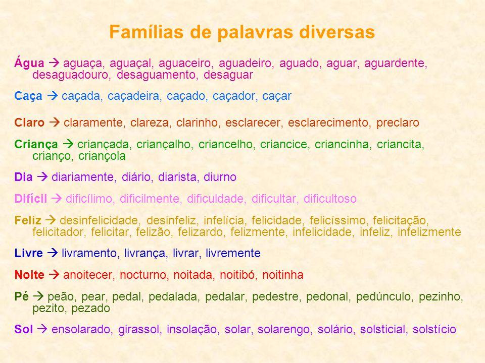 Famílias de palavras diversas