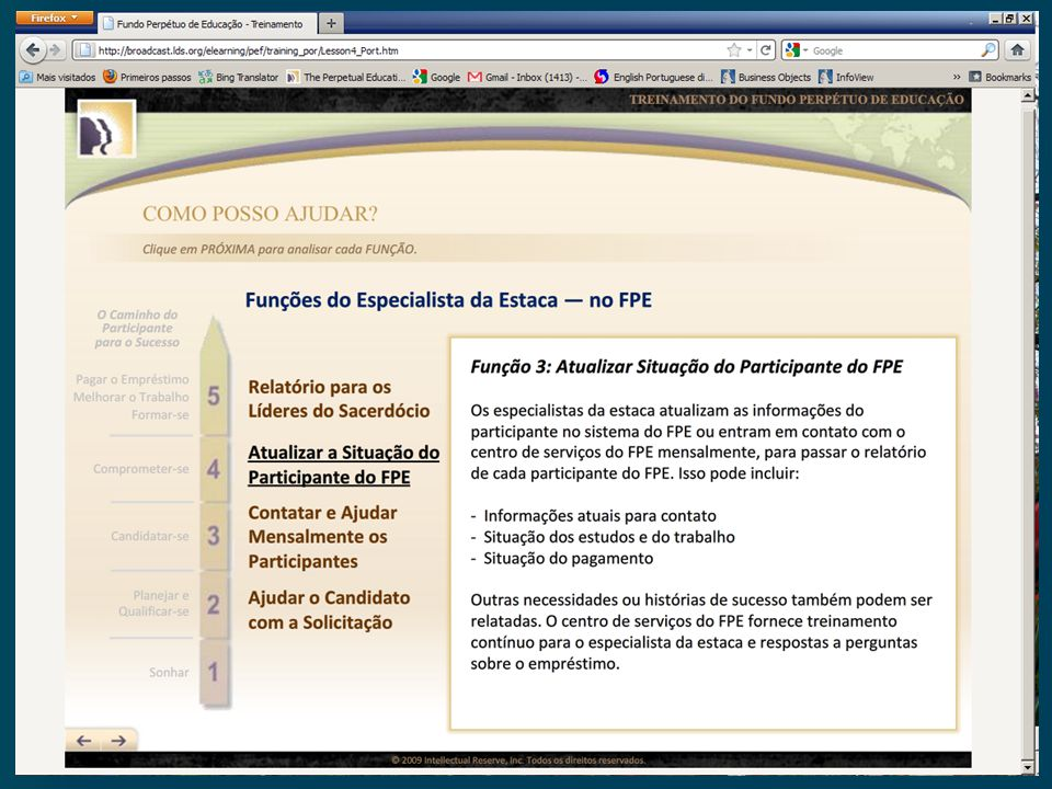 Esta pagina indica que os especialistas precisam atualizar a situação do participante do FPE. Podem fazer isto em uma entre duas maneiras.