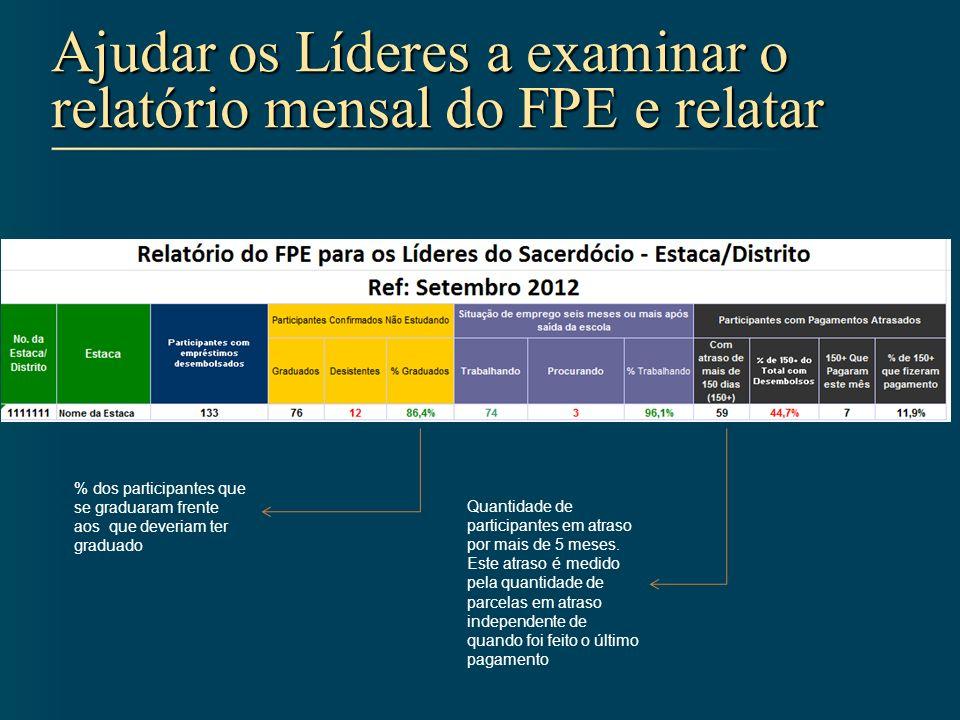 Ajudar os Líderes a examinar o relatório mensal do FPE e relatar