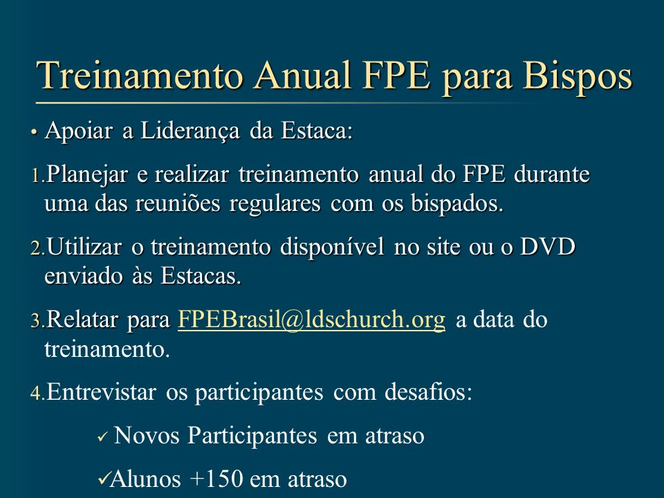 Treinamento Anual FPE para Bispos