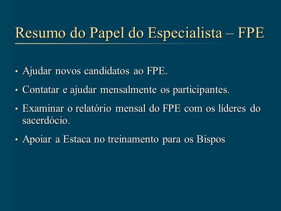Resumo do Papel do Especialista – FPE