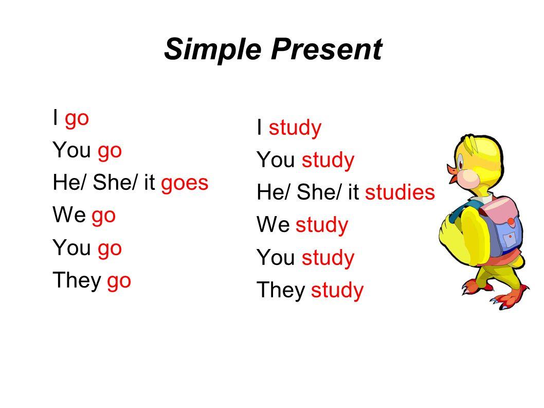 Simple Present I go I study You go You study He/ She/ it goes