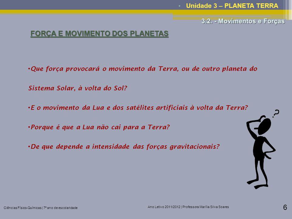 FORÇA E MOVIMENTO DOS PLANETAS
