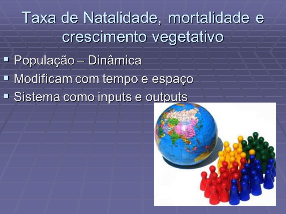 Taxa de Natalidade, mortalidade e crescimento vegetativo