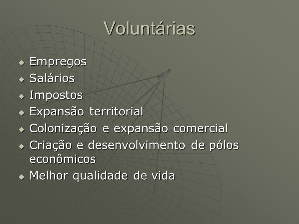 Voluntárias Empregos Salários Impostos Expansão territorial