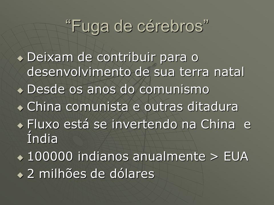 Fuga de cérebros Deixam de contribuir para o desenvolvimento de sua terra natal. Desde os anos do comunismo.