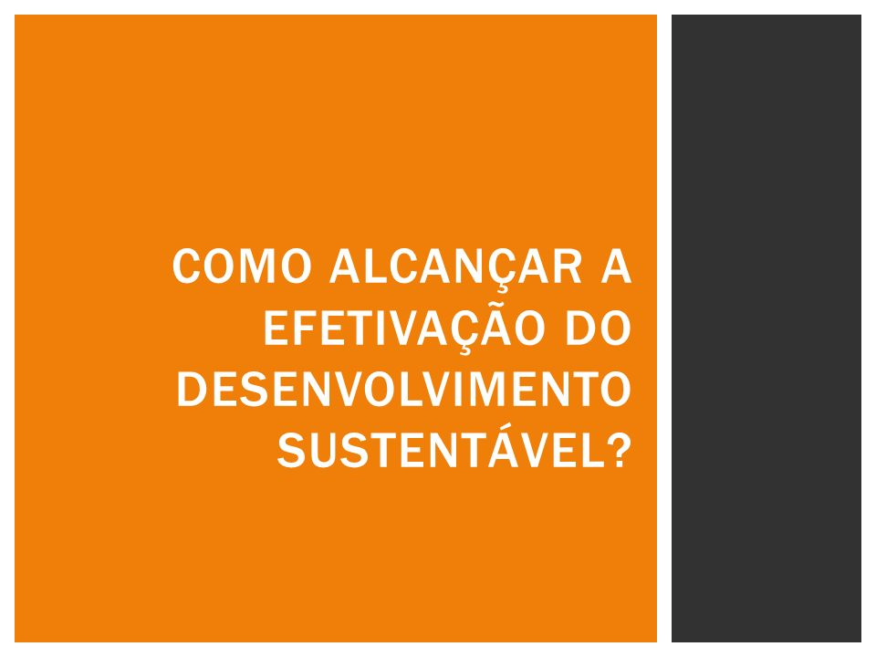 COMO ALCANÇAR A EFETIVAÇÃO DO DESENVOLVIMENTO SUSTENTÁVEL