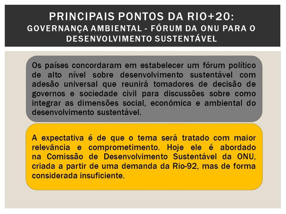 PRINCIPAIS PONTOS DA RIO+20: Governança Ambiental - Fórum da ONU para o desenvolvimento sustentável