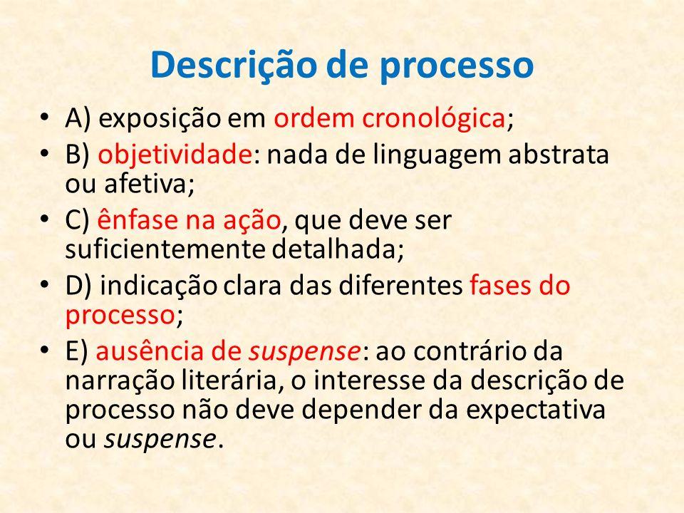 Descrição de processo A) exposição em ordem cronológica;