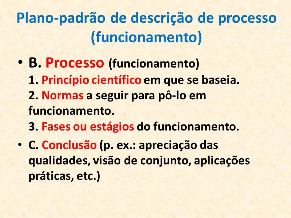 Plano-padrão de descrição de processo (funcionamento)