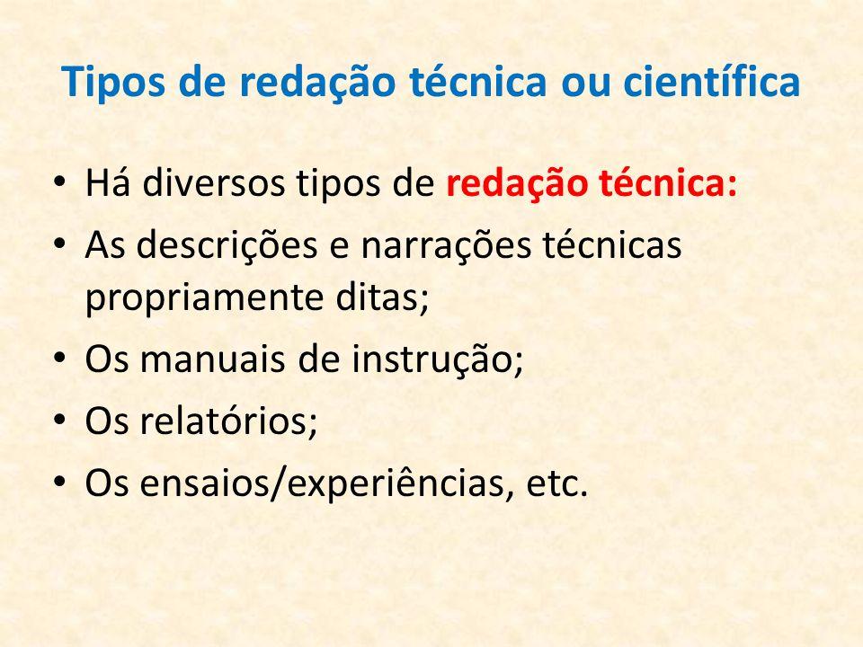 Tipos de redação técnica ou científica