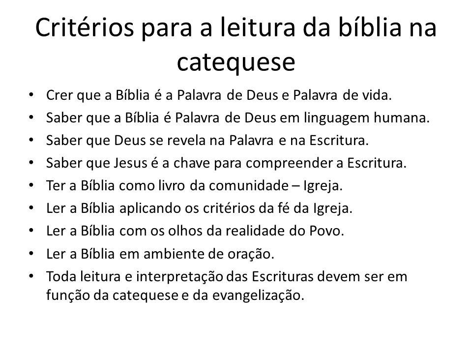 Critérios para a leitura da bíblia na catequese