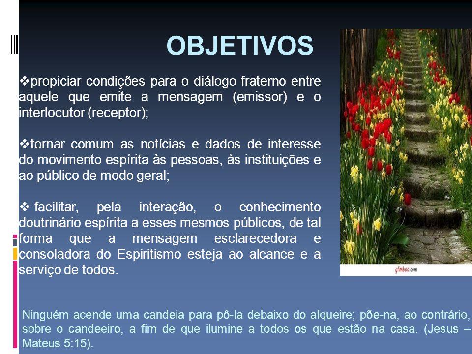 OBJETIVOS propiciar condições para o diálogo fraterno entre aquele que emite a mensagem (emissor) e o interlocutor (receptor);