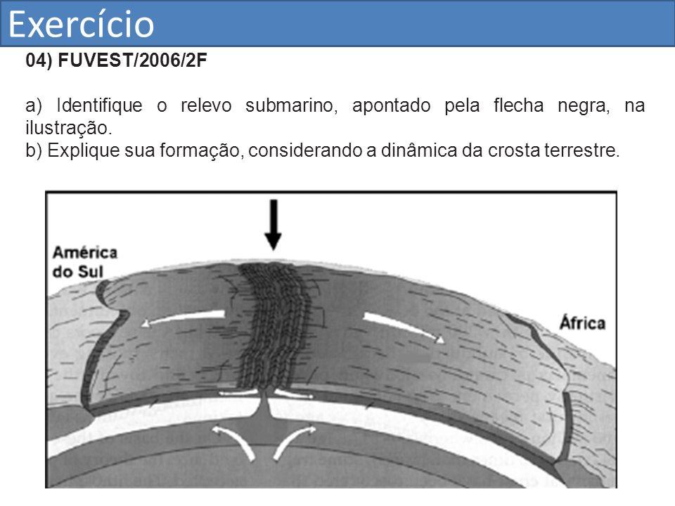 Exercício 04) FUVEST/2006/2F. a) Identifique o relevo submarino, apontado pela flecha negra, na ilustração.