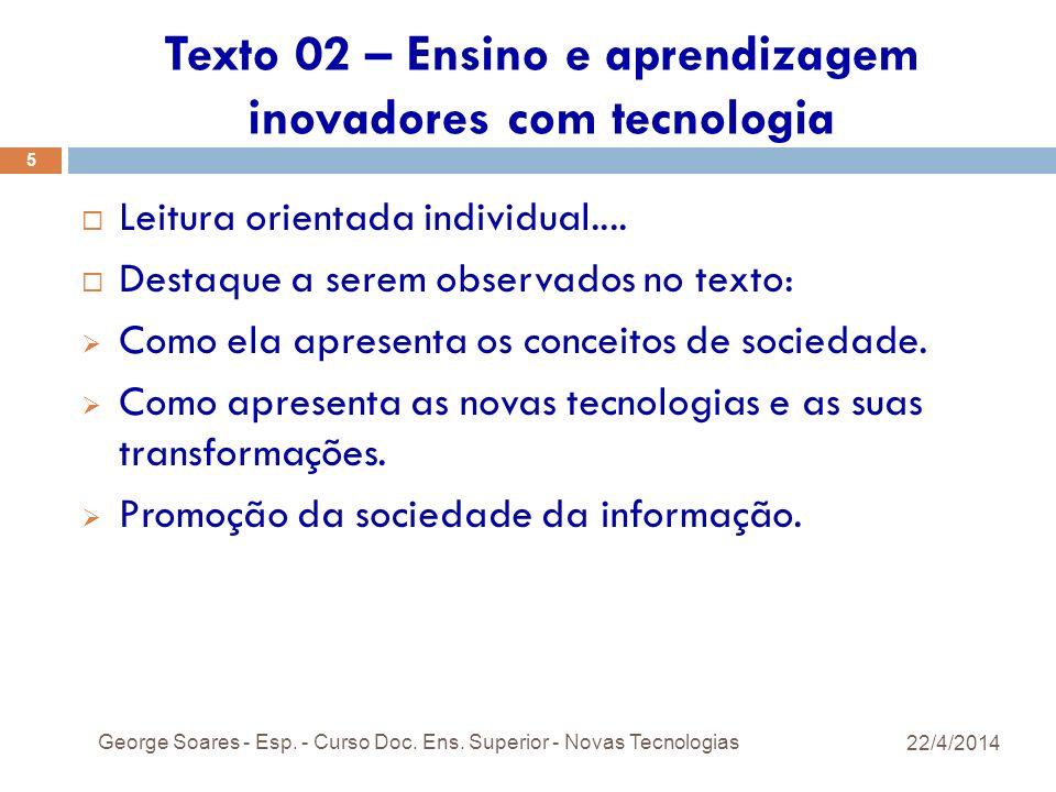 Texto 02 – Ensino e aprendizagem inovadores com tecnologia