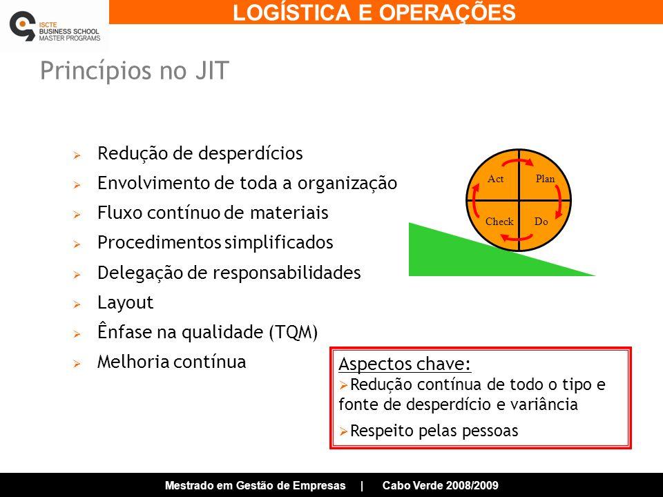 Princípios no JIT Redução de desperdícios